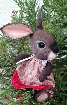 OOAK Jointed Wool and Cotton Art Bunny Rabbit