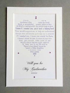 Will you be my Godmother, ALWAYS Godmother Proposal Gift, Personalised Will you be my Godmother request, Godmother Poem, Godmother Printable Personalised Christening Gifts, Godparent Gifts, Baptism Gifts, Godparent Ideas, Godmother Poem, Godmother Gifts, Godmother Ideas, Fairy Godmother, Confirmation Sponsor