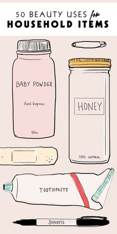 50 beauty uses for common household items. Lol!! Sometimes moms gotta be creative!! | #metime | #mombeauty