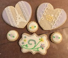 Cross-stitch cookies I made for my sister's engagement!