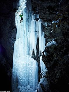 Breathtaking: Climber Alex Luger scales Bruckenfall in Switzerland at night in temperatures of -18C