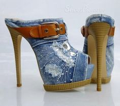 Dramatic Denim Buckle Peep-Toe Sandals