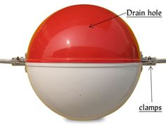 Drain holes in red/white obstruction marking sphere.