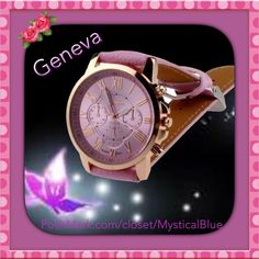 GENEVA Roman Numeral Stainless Steel Quartz Watch GENEVA Roman Numeral Stainless Steel Leather Quartz Analogue Watch in PINK.          Brand new and high quality.  A classic look, this watch is specially designed with metal case and faux leather band.  Movement: Quartz : Battery Display: Analog Style: Casual  Model: 9298 Features: Easy To Read Case Material: Metal  Case Diameter: 4cm/1.57'' (Approx.) Band Material: Faux Leather Band Length: 23cm/9.06'' (Approx.) (Case is Included) Band…