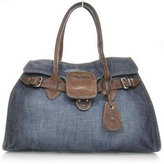 MIU MIU Denim and Leather Satchel and other apparel, accessories and trends. Browse and shop 8 related looks.