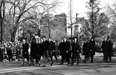 11/25/63: Jacqueline Kennedy leads the funeral procession from the White House to St. Matthew's Cathedral.