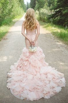 Stunning Ruffled Blush Wedding Dress