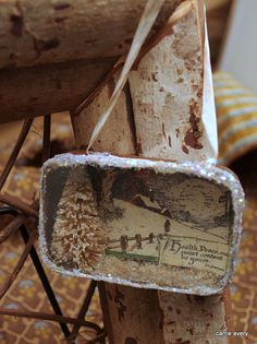 Recycled Vintage Tin Winter Scene Ornament / by CarrieAvery, $25.00