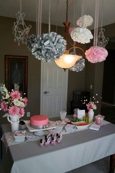 pink and grey baby shower | Pink and Gray chevron baby shower decor I love that the ball things are hanging with ribbons stuff rather than just string!
