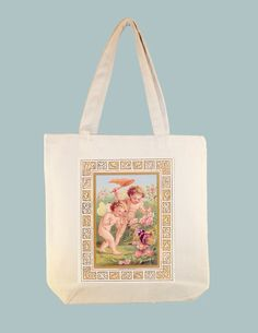 Cherubs Angels Chasing Butterfly 15x15 Canvas Tote - larger zip top tote style available