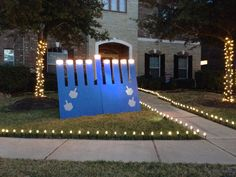 Outdoor menorah with working lights to light each night!