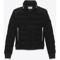 Saint Laurent Down Jacket in Black Corduroy ❤ liked on Polyvore featuring outerwear, jackets, down filled jacket, cordoroy jacket, yves saint laurent, zipper jacket and zip jacket