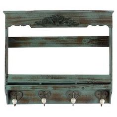 """Antiqued wood wall shelf with 4 hooks and heart-shaped accents.  Product: Wall shelfConstruction Material: WoodColor: Distressed blueDimensions: 22"""" H x 26"""" W x 5"""" D"""