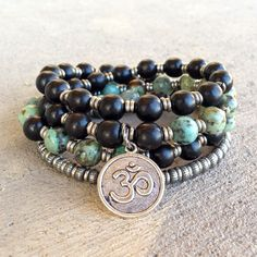 Ebony and African turquoise unisex style mala necklace – Lovepray jewelry
