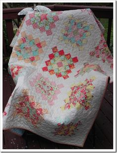 Great Granny Square Bonnie & Camille Marmalade Pinwheel Quilt Pattern, Quilt Patterns, Cute Quilts, Mini Quilts, Granny Square Quilt, Granny Squares, Patch Quilt, Quilt Blocks, Jellyroll Quilts
