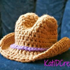 Crochet This wide brim cowboy hat is a perfect little gift for that newborn! Sure to make for some super cute photos. No joining seam, worked using stitch markers Crochet Cowboy Hats, Crochet Baby Hats, Crochet Beanie, Cute Crochet, Crochet For Kids, Crochet Crafts, Crochet Projects, Knit Crochet, Unique Crochet