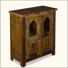 Two Window Reclaimed Wood Standing Night Stand End Table Cabinet