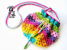 free pattern, crochet bags, crocheted bags, crochet purses, rainbow collect