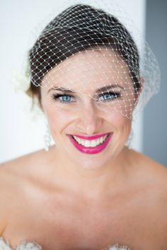 Gorgeous bride, love her lipstick! photo by La Vie Photography | junebugweddings.com