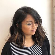 40 Stunning Medium Hairstyles for Round Faces Choppy Black Lob With Cara. - 40 Stunning Medium Hairstyles for Round Faces Choppy Black Lob With Caramel … - Classy Hairstyles, Easy Hairstyles For Medium Hair, Medium Long Hair, Medium Hair Cuts, Short Hair Cuts, Medium Hair Styles, Straight Hairstyles, Short Hair Styles, Black Hairstyles