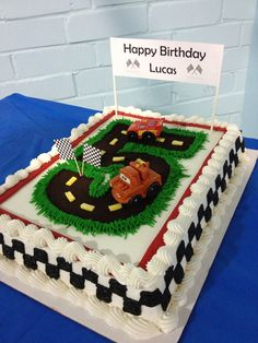 And here's my version of the Cars cake inspired by all my pins. Monster Truck Birthday Cake, Race Car Birthday, Car Themed Parties, Cars Birthday Parties, Pirate Ship Cakes, Race Car Cakes, Mcqueen Cake, Inspired, Whipped Cream