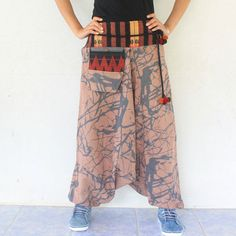 rosy brown marble  harem pants hand weave by meatballtheory