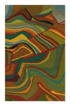 """""""Méandres"""" Martine de Wavrechin-Tissot.  Tapisserie haute-lice, trame laine sur chaine coton. 60x93 cm"""