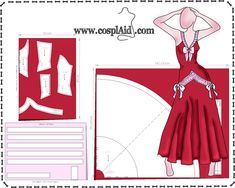 Cutting instructions for Mirajane Strauss cosplay Sachi-cutting-instructions-patterns Barbie Sewing Patterns, Doll Dress Patterns, Costume Patterns, Easy Sewing Patterns, Clothing Patterns, Cosplay Diy, Cosplay Outfits, Cosplay Costumes, Mirajane Cosplay