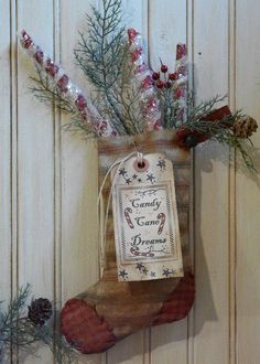 Christmas Stocking Tags & primitive Peppermint Sticks E Pattern - holidays decor Pdf  scrapbooking collage art papers. $8.49, via Etsy.