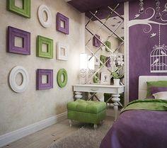 wandgestaltung jugendzimmer m dchen lila wandfarbe schablone schmetterlinge w nde decken usw. Black Bedroom Furniture Sets. Home Design Ideas