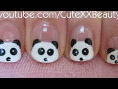 Panda Nail Art (For Short Nails) This works great for tiny little girl nails!
