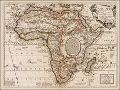 Beautiful!  Afrique selon les Relations les plus Nouvelles Dressee et Dediee Par le. P. Coronelli 1689 - Barry Lawrence Ruderman Antique Maps. #maps #Africa
