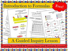 This FREE guided inquiry chemistry lesson enables students to construct their own understanding of basic concepts that they will need in future nomenclature and formula lessons. Students are able to actively learn the material without lectures or notetaking. COMING SOON! Four additional nomenclature and formula guided inquiry lessons!