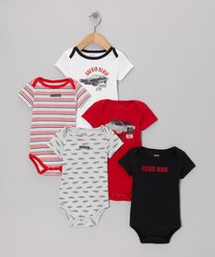 Make sure Baby's wardrobe is working a full-time schedule with this set of bodysuits. Five similarly themed but distinct styles provide a consistent variety of darling looks. With lap necks and snaps on each, cozy comfort is featured across the board.