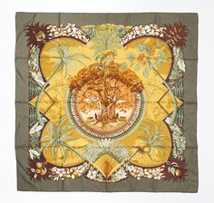 """Hermes Scarf, """"Aloha"""", designed by Laurence #Bourthoumleux, 2000, in warm dark…"""