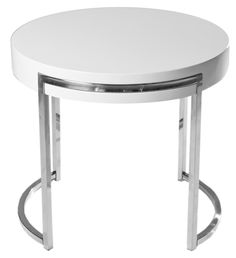 The glossy white lacquered finish of the top accentuates this side table's highly polished, quietly quirky metal legs.