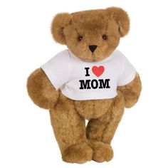 """15"""" """"I HEART Mom"""" Personalized T-Shirt Teddy Bear The Vermont Teddy Bear Company . Declare your love and appreciation for Mom loud and clear with this fun Bear wearing a white """"I HEART Mom"""" T-shirt. This is one Bear your mom will love and cherish for a lifetime. Personalize the back of the T-shirt with all the kids' names. amazon.com"""