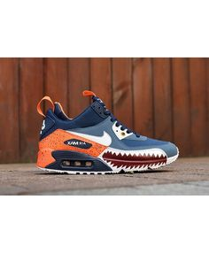 6c523ed6ef23e Nike Air Max 90 Mid Sneakerboot Winter Shark Teeth Blue Orange Sale  Clearance