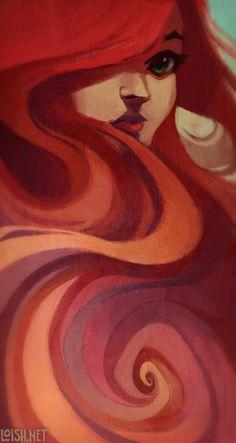 Swirls n curls, orange and red art