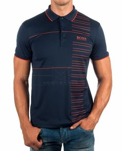 Polos Hugo Boss Paddy Pro - Azul marino & Naranja Polo Shirt Design, Polo Design, Polo Shirt Outfits, Mens Polo T Shirts, Camisa Polo, Moda Men, Camisa Floral, Hugo Boss Shirts, Men's Fashion