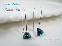 #Jewelry #Earrings #Handcrafted ~ #Swarovski #Crystal #Triangle Pendants in #Bermuda #Blue with #Sterling #Silver Plate Findings ~ #Gift for Her - For ladies who want jewelry that's as fabulous as they are, Touched By God's jewelry is a fresh alternative to generic, mass made pieces. Visit my shop at www.TouchedByGod.etsy.com!