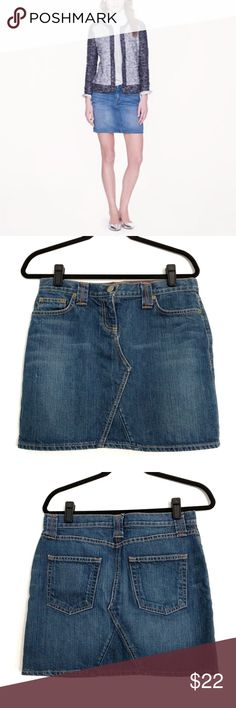 J. Crew Denim Mini Skirt Size 29 An essential summer basic. Dress it up or down. My favorite way to wear a denim skirt is with a tee or button down and Chucks. This skirt has very slight distressing (see pics). It is listed as a medium but the actual size is 29. Sorry, no trades. J. Crew Skirts Mini