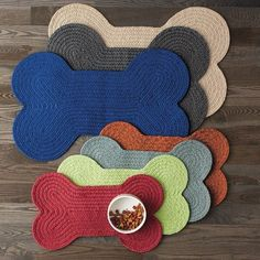 Dog Bone-Shaped Feeding Mat at The Company Store - Pets - Pet Supplies - Dog Bowls - Large Outdoor Cushions And Pillows, The Company Store, Dog Bones, Old Dogs, Dog Supplies, Crochet Animals, Dog Accessories, Dog Design, Dog Training