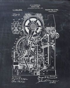 This is a print of the patent drawing for a printing press in 1914. The original patent has been cleaned up and enhanced to create an attractive display piece for your home or office. This is a great…MoreMore  #PatentArtPrints