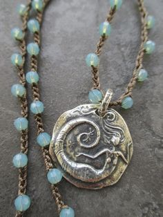 Mermaid crochet necklace - UnderWater Wonder - blue green opal Swarovski crystal sterling silver beach boho summer necklace by slashKnots