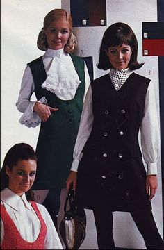 High necked blouses with lacy jabots. And jumpers. It's what we wore.