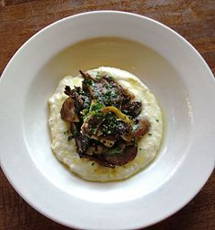 Roasted Mushrooms with Goat Cheese, Jalapeno Peppers & Grits: Sound pretty satisfying!