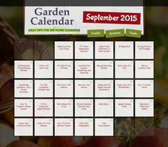 DAILY gardening tips for the month of September! Great gardening resource -- just click the day for helpful tips on keeping up with your lawn & garden this spring.