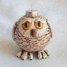 Christmas Ornament Snow Owl glass polymer clay by digitsdesigns