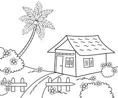 Book drawing for kids super Ideas House Drawing For Kids, Drawing Lessons For Kids, Art Drawings For Kids, Easy Drawings, Art For Kids, Children Drawing, Art Children, Tree Coloring Page, Preschool Coloring Pages